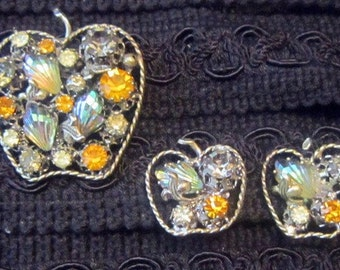 Vintage Austrian Crystal Apple Shape Brooch and Earrings Demi Parure