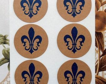 Stickers Fleur de lis Vintage Style Envelope Seals French Mardi Gras Wedding Party Favor Treat Bag Sticker SP009