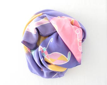 silk scarf * vintage scarf * large scarf * square scarf * 80s scarf * pastel scarf * dancer girl