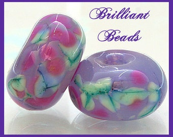 Spring Violets Glass Spacer Bead Pair...Handmade Lampwork Beads SRA, Made To Order