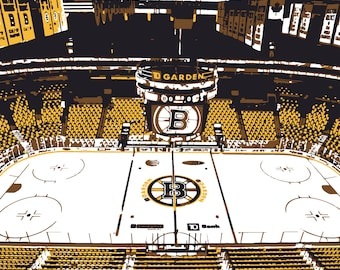 Boston Bruins art, TD Garden, Boston Massachusetts, canvas print, hockey art, man cave, groomsman gift, child's bedroom