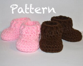0-3 months Crochet Baby Pattern, Easy Baby Booties, Baby Booties Pattern, Crochet Booties Pattern, Crochet Baby Shoes. Digital Download Only