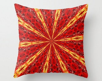Red Throw Pillow Cover, Red Kaleidoscope Pillow Cover, Red Boho Pattern, Red Kaleidoscopic Throw Pillow Cover, Red Hippie Loft Home Decor
