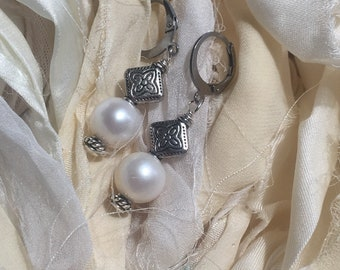 Natural Freshwater Pearl Earrings with silver tone accents wire wrapped