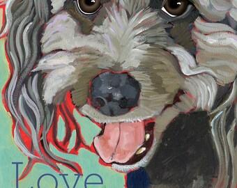 "Love Is Happy & Sweet gratitude inspirational happy motivational  scruffy grey terrier  mutt 2x3"" magnet"