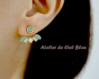 Ear Jacket Earrings, Gold Plated Swarovski Crystal Ear Jacket Earrings, Green Swarovski Crystal Stud Earrings with Ear Jackets