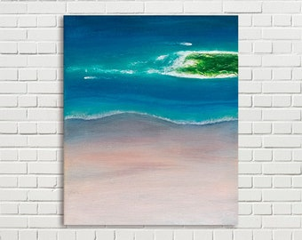 Small seascape painting of tropical sandy beach 25x30cm