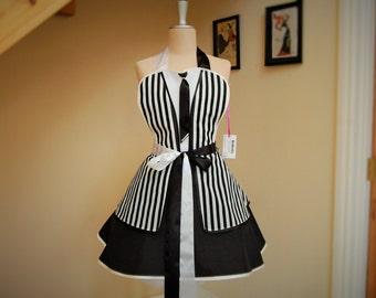 Black & White Striped apron.