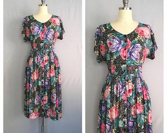 Jardin de nuit dress | 1980s black floral dress | vintage tie back rayon dress | s -m