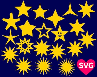 20 Stars SVG Bundle, Stars SVG files for Cricut & Silhouette, Stars shapes, Star clipart, Star with 5 branches, Star SVG cut files, Star dxf