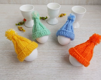 Hand Knitted Easter Cozy Egg Hats, Set of 4 Knit Egg Warmers Dining Ornaments