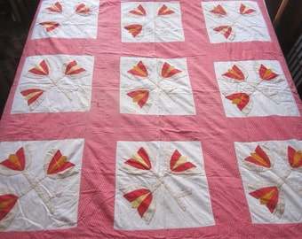 Antique 19c Red and Yellow on Cinnamon Pink Appliqued Cotton Quilt as found
