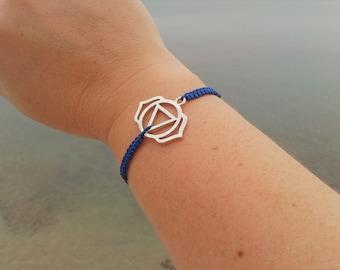 THIRD EYE CHAKRA bracelet in Tibetan silver and macrame cord. Sixth Chakra Bracelet. Handmade. Choose your color!
