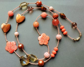 Extra long necklace, long necklace, Coral pink necklace, Pink and Copper, Coral Pink, Beach, Vintage look, Flapper, 1920's, Romantic