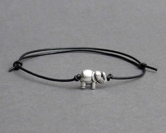 Tiny Elephant Men's Bracelet, Silver Elephant Charm, Leather Bracelet For Men, Gift for him, Bestfriend Bracelet, mens jewelry, Adjustable