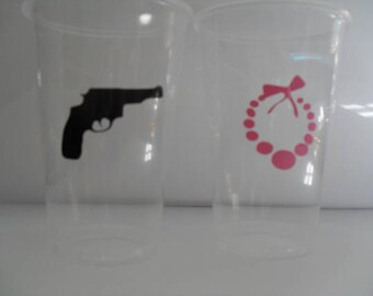 24  Pistols and Pearls Gender Reveal Baby Shower Cup Decal / Gender Reveal/ DIY  Party Decals / Baby Shower Cup Decals / Baby Gender Decals