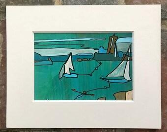 Blue Harbor Print 8x10 mat