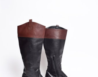 Vintage Tall Black and Brown Leather Boots