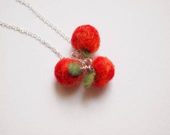 Needle Felted Apple Necklace - Felt Apple Necklace - Red Apple Necklace - Made to Order