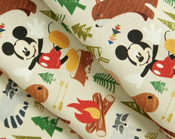 Mickey Mouse in the Forest Fabric - cute fairy tale fabric, Mickey Mouse Fabric / By The Yard
