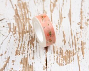 1 Nastro adesivo rosa con decoro a fiori / Washi tape / Japanese Masking Tape