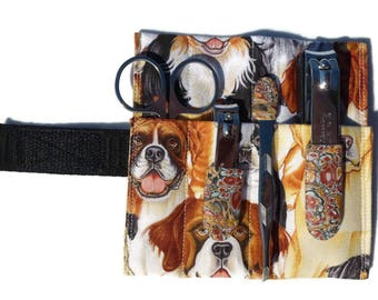 6-Piece Grooming Kit: Dogs with art on tools