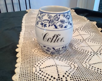 Antique blue and white canister, coffee