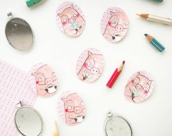 DILISA Handpainted Necklace,handpainted cabochon,First Hand bijoux,gift for mother day,Pink present,cute pig,children illustration