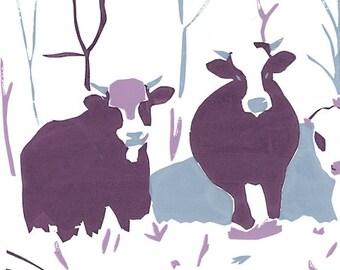 Winter Cows Hand-Made Silkscreen Print