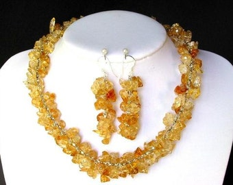 Set of Citrine Chip Beads Chained Dangle NSCT1434