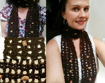 Brown Beaded Crocheted Scarf