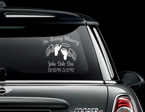 Infant In Loving Memory Car Window Decal With Angel Wings - Window decals in memory of
