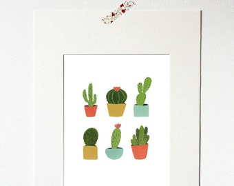 Print - Group of Cacti - Hand painted