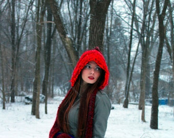 Hooded Scarf Red and Burgundy Little Red Riding Skood Handmade Christmas Gift