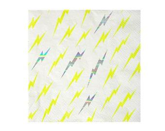 Lightning bolt paper napkins. Set of 16. Superhero party napkins. SMALL Lightning napkins. Superhero tableware and decor. Comic book napkin
