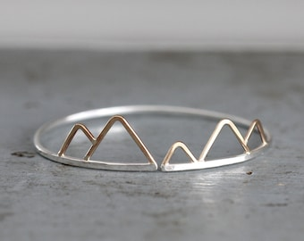 Olympus Cuff, Asymmetrical Mountain Cuff Bracelet, Hammered Wire, Bohemian, Minimalist, Geometric, Triangles, Mixed Metal, Handmade in VT