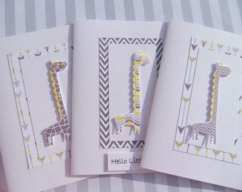 Welcome Baby Boy Cards - Giraffe Cards - Gender Neutral Shower Cards - Baby Gift Thank You Cards - First Birthday Cards - BBGC1