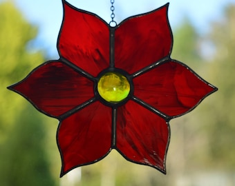 Red Poinsettia Stained Glass Suncatcher