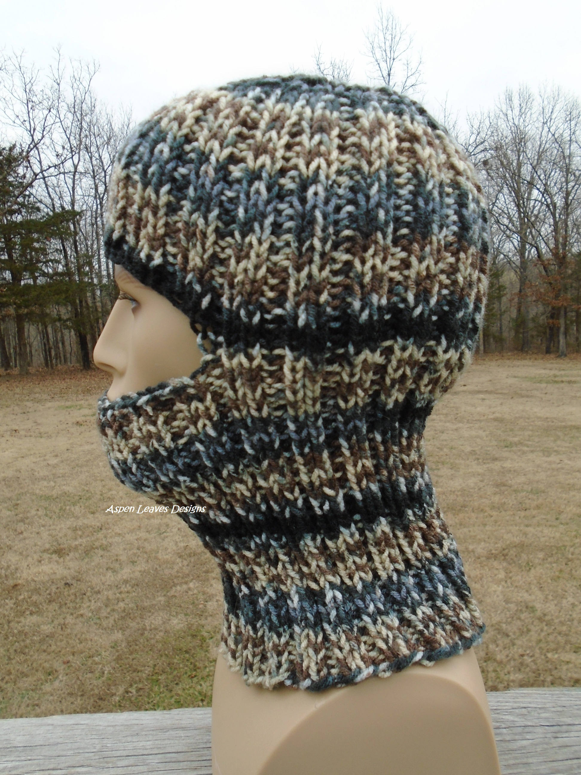 Striped Balaclava, ski mask. Stripes in black, gray, tan and cream ...