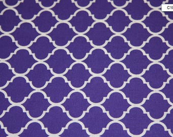 Purple Quatrefoil Cotton Fabric quilting sewing crafts low price cotton fabric free shipping available Cotton fabric by yard SHIPS FAST C108