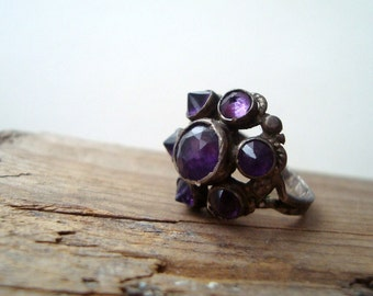 SALE Vintage Amethyst and Sterling Ring February Birthstone Gemstone Ring Gifts For Her Unique Engagement Ring Purple Ring