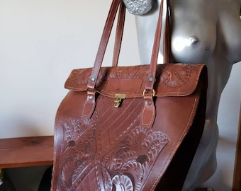Vintage 60s Extra Large Tooled Brown Leather Pentagon Shaped Bag with Top Handles