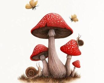 Toadstools - Fine Art Illustration - Print