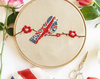 Hand Embroidery Pattern - Great British Bird  - Royal Wedding Embroidery - PDF