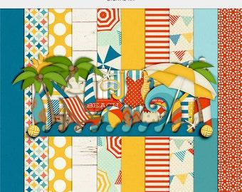 Beach Digital Paper Digital Printable Printable Paper Digital Download Summer Vacation Planner Printable Scrapbook Paper Digital Clipart