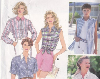 Simplicity 9014 CLEARANCE Vintage Pattrn Womens Shirts in 5 Variations Size 6