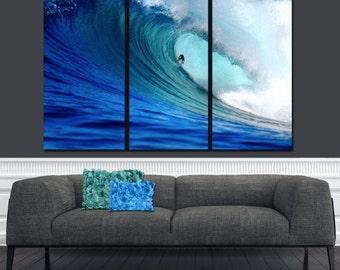 Surfer Ocean Wave on Canvas,  Large Wall art, Ocean Canvas, Blue Wave, Ocean Beach, Canvas print, Multi Panel Canvas, Surfer art