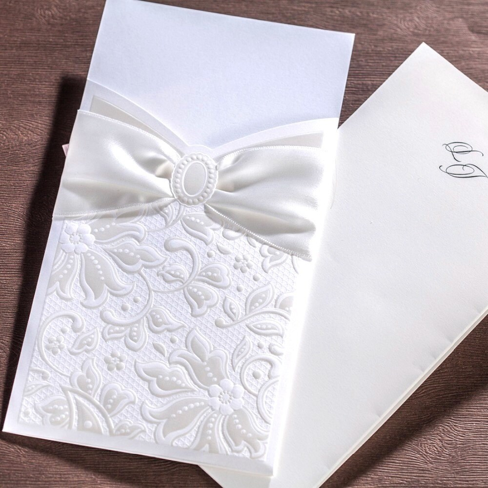 50 White Bow Embossed Wedding Invitations with Envelopes ...