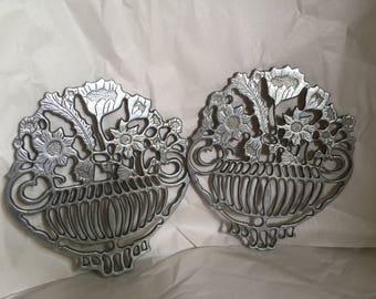 Vintage Genuine Pewter Trivets Floral basket Replica of Italian designer Piero Maestri Pewter hot plate vintage kitchen trivet