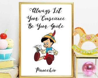Pinocchio Print, Disney Quotes, Pinocchio Printable Quote, Nursery Decor, Instant Download, Pinocchio Theme Decorations